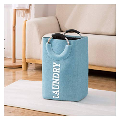 JHLD Slim Laundry Hamper, Cotton Linen Collapsible Laundry Basket High Capacity With Handle Storage Basket Clothes Bag-blue-32×25×50CM