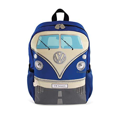 BRISA VW Collection - Stylisher & lässiger Volkswagen Kinder-Rucksack, Tages-Wander-Rucksack VW T1 Bulli Bus Front (15l/Klein/Blau)
