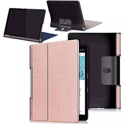 HYMY Funda para Lenovo Yoga Smart Tab YT-X705F, Protector with PU Flip Cover Case Carcasa -Rose Gold