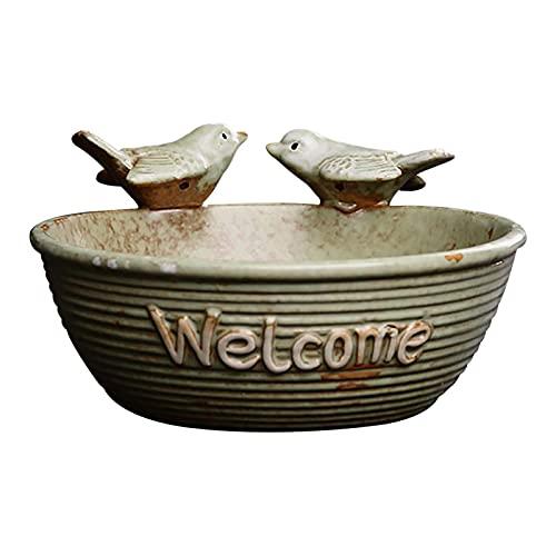 monshop Vogeltränke Frostsicher Stehend, Vogelschale Garten Deko, Welcome-Skulptur, Vogeltränke Winterfest Stein Keramik, Garten Landschaftsbau