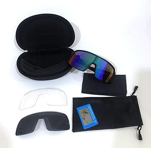 NSGJUYT Lentes Deportes polarizados Hombres Gafas de Sol Gafas de Ciclismo Gafas de montaña Bicicleta de montaña Protección de la Bicicleta Eyewear 3 Lente (Color : Black Frame Green FL)