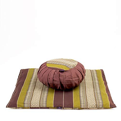 Leewadee Set de meditación con Funda – Cojín Zafu y colchoneta Zabuton de meditación y Yoga, Asiento tailandés de kapok Natural, Set de 2, marrón Verde
