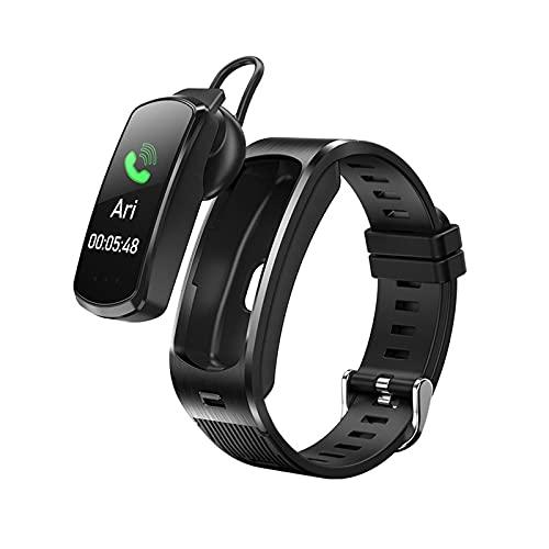 PYAIXF Pulsera Inteligente, Impermeable Ajustable Desmontar El Auricular Detección De Frecuencia Cardíaca Pulsera Bluetooth para Llamadas Hombres Mujeres-Black-a