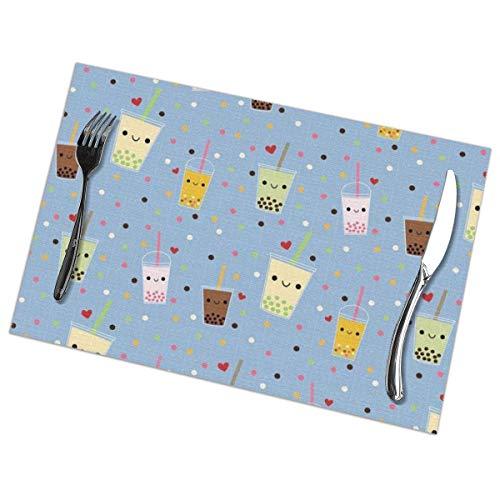 Dy Aari Tischsets Tischsets Happy Boba Bubble Tea Tischsets 6er-Set Esstisch Mat