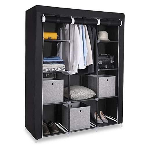 Bolsa organizadora de armario de tela, estilo taquilla, tubo de acero reforzado, muy resistente y fácil de montar, estilo simple negro