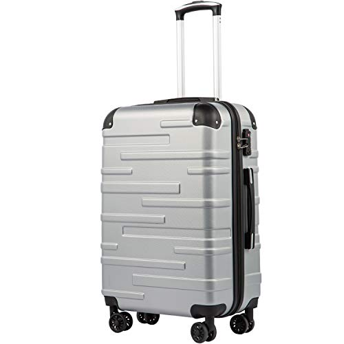 COOLIFE Hartschalen-Koffer Rollkoffer Reisekoffer Vergrößerbares Gepäck (Nur Großer Koffer Erweiterbar) ABS Material mit TSA-Schloss und 4 Rollen(Silber, Großer Koffer)