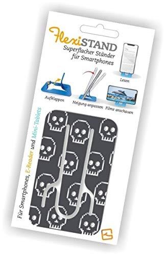 Flexistand Skull - superflacher Aufsteller für Smartphones und Mini-Tablets, Handyhalter: Ideal zum Filme schauen und lesen - für zuhause und unterwegs