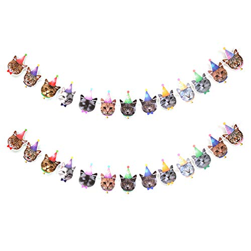 Amosfun 2pcs Pet Party Banner Cat Head Bunting Banner Cats Faces Hanging Garland for Pet Theme Birthday Party Baby Shower Favors