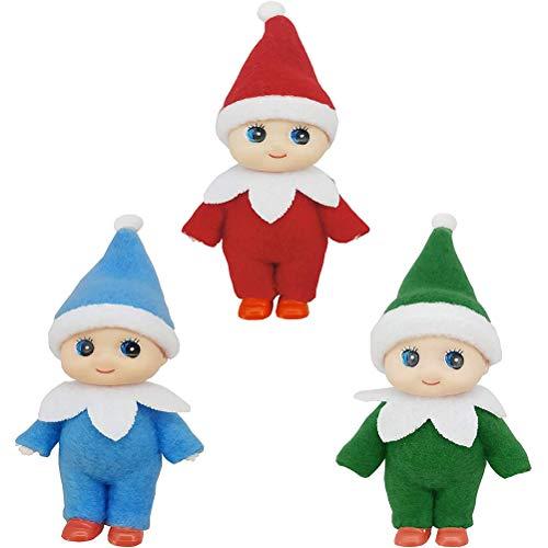 Hinder 3 piezas de muñeca de elfo de Navidad de Navidad de bebé niño y niña, accesorios en miniatura para decoraciones de Navidad, calendarios de Adviento y calcetines de relleno