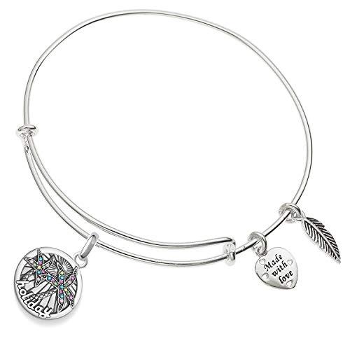 Enni of York Pulseras inspiradoras para mujeres, regalos expandibles, tono plateado, brazalete (palma, árbol de coco vacaciones)