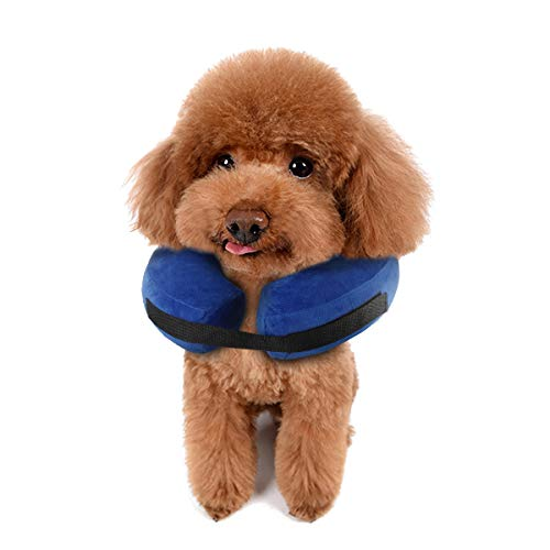 Protective Inflatable Dog Cone Collar,Comfortable Designed to Prevent Pets from Biting Scratching at Injuries, Stitches, Rashes Wounds,Adjustable Soft Pet Recovery Collar for Dogs or Cats (S)