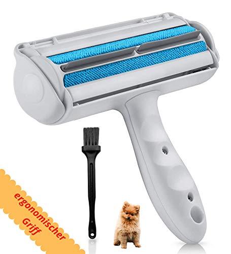 FusselZz Home Premium Fusselrolle mit Pinsel - Wiederverwendbare Fusselbürste für Tierhaare zum Entfernen von Langen und kurzen Hundehaare & Katzenhaare - Fusselentferner für Sofa, Bett und Teppiche