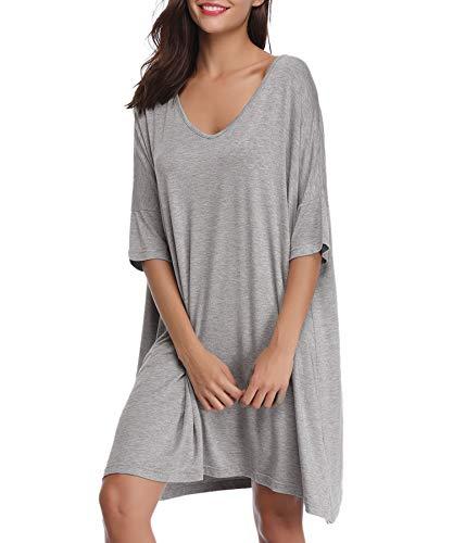 Aiboria Camicia da Notte Donna Estivo, Pigiama Modal da Donna Scollo a V Manica Corta,Pigiami Camici Vestaglia, Vestito Donna per Casa