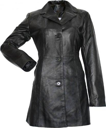 Damen Ledermantel Trenchcoat Echtleder Mantel aus Lammnappa Leder Schwarz, Größe:38