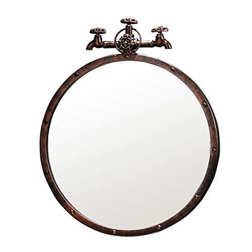 NMDCDH Baño Espejos de Metal montados en la Pared Sala de Estar Decorada Mural Espejo Retro Faucet Design 1: 1, Bronce Rojo (Tamaño: Diámetro 40 cm)