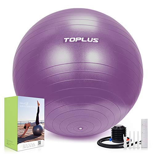 TOPLUS Pelota de gimnasia, extra gruesa, para yoga, resistente a los golpes, pelota de equilibrio con bomba rápida, 65 cm, color lila