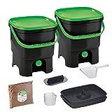 Skaza Bokashi Organko Set (2 x 16 L) Compostador 2X de Jardín y Cocina de Plástico Reciclado | Starter Set con Bokashi Organko Polvo 1 Kg. (Negro-Verde)