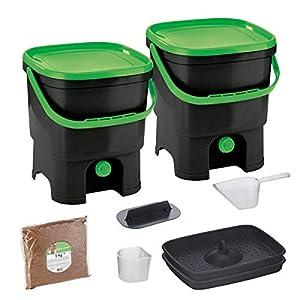 Skaza Bokashi Organko Set (2 x 16 L) Compostador 2X de Jardín y Cocina de Plástico Reciclado   Starter Set con Bokashi Organko Polvo 1 Kg. (Negro-Verde)