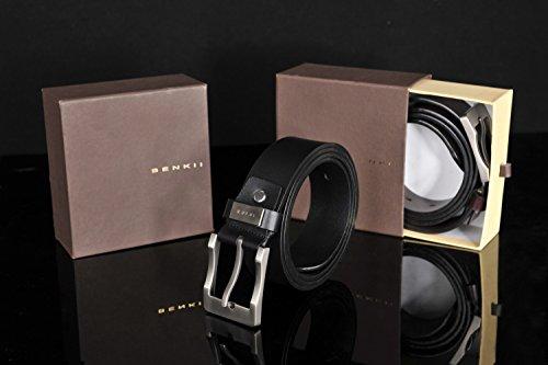 Belt for Men -Trimmed to Fit- Genuine Leather Men's Belt in an Elegant Gift Box (39-44, Black)