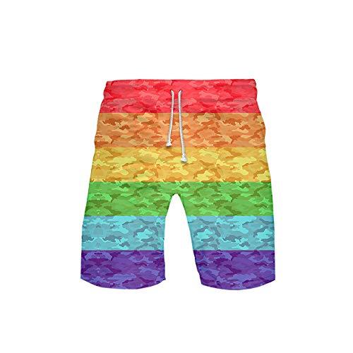 URVIP Kinder Regenbogen Pride Flag Gay LGBT Shorts 3D Druck Kurze Hose Badehose Freizeithose Jogginghose Sporthose Trainingshose Jogger Sweatpants Regenbogen-10 M