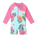 HUAANIUE Einteiliger Badeanzug für Mädchen mit UV-Schutzfaktor 50+ und Reißverschluss, für Kinder im Alter von 4–11 Jahren (CyanFlower, 5–6 Jahre (Tag Nr. 116/122))