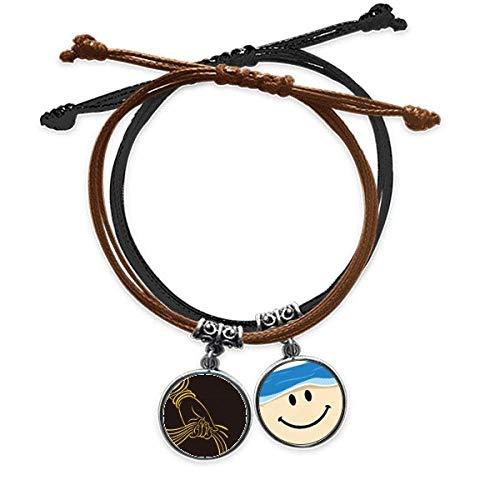 Bestchong Culture Religion Handschal-Armband, Seil, Handkette, Leder, lächelndes Gesicht