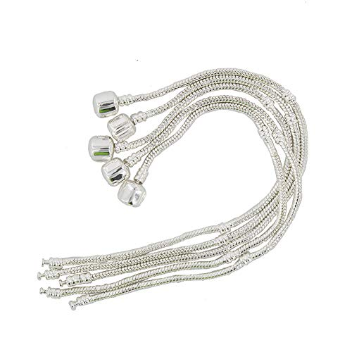 Yeshan 5PCS Women Silver Plated Bracelet Snake Chain With Classic Bead Barrel Clasp Fits All Chamilia Troll Biagi Beads-8 inch