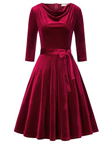 Belle Poque BPA02017 Vestido de Mujer, Estilo años 50, Vintage, Retro, Rockabilly, línea A, Terciopelo, de Invierno,...