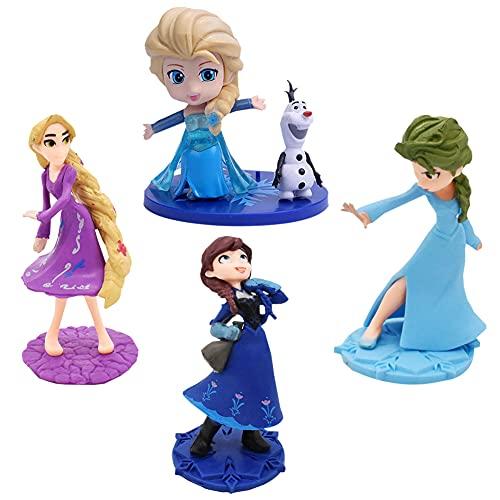 Hilloly 5 pcs Princesa Congelada Cake Topper Frozen Cake Topper Mini Juego de Figuras Niños Baby Shower Fiesta de cumpleaños Pastel Decoración Suministros Cumpleaños Decoración