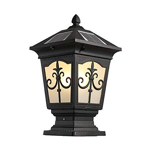 LED Luces solares de seguridad para exteriores Tradicional europeo IP54 Impermeable-óxido Iluminación de pared Montaje porche Columna Pilar Linterna Decoración Patio Comunidad Césped Post Lámpara 23
