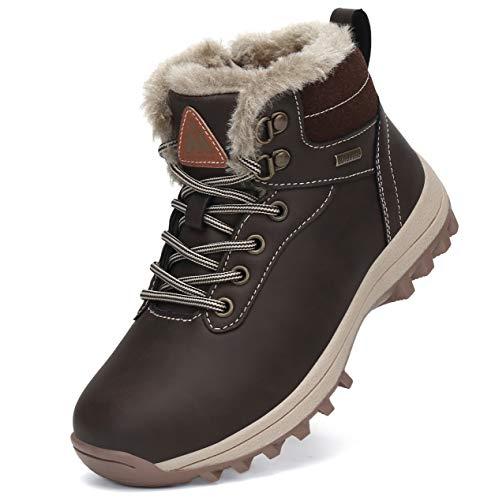 Mishansha Zapatos de Botas de Invierno para Niños Botas de Senderismo Botas de Montaña Deportiva Cómoda Marrón Gr.25