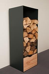 Holzaufbewahrung Höhe 105 Breite 40cm, Design-Möbel mit Schubfront Buche-Carasso-Dekor, Metall anthrazit