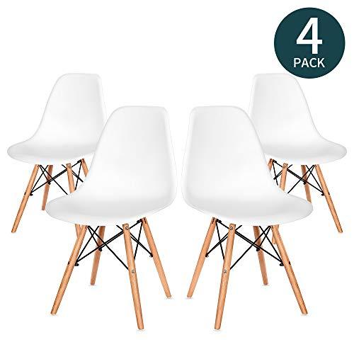 VADIM Chaise Design Salle Manger Lot de 4 Blanches Illuminez Votre Salle a Manger et Votre Chambre avec des Chaises Scandinaves Chaise Confortable en Bois Parfaite pour Votre Maison