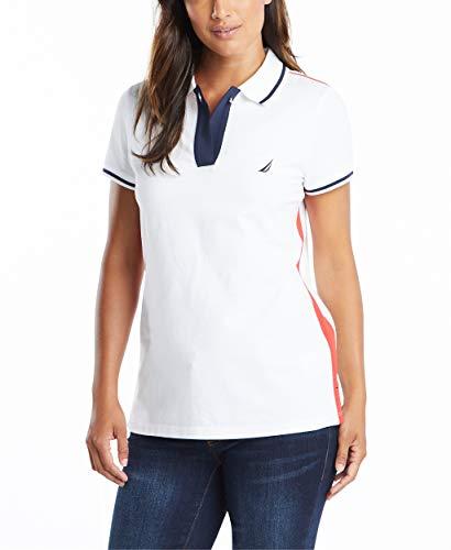 Nautica Women's Toggle Accent Short Sleeve Soft Stretch Cotton Polo Shirt, Bright White, Medium