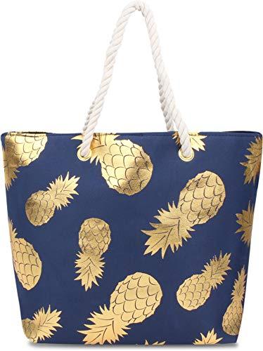 normani Strandtasche Schultertasche Handtasche Umhängetasche mit Sommer Design und großem Volumen Farbe Gold Pineapple