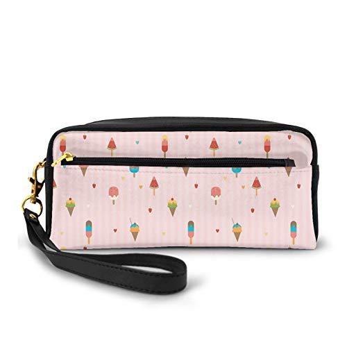 Kleine Make-up-Taschen, pastellrosa gestreifter Hintergrund mit Herzen, verschiedene Verzierungen auf Stäben und Kegeln, PU-Leder, Reißverschluss, Kosmetiktasche und Bleistift-Organizer