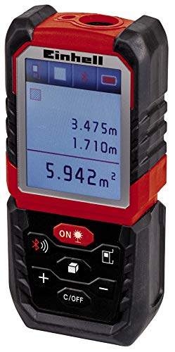 Einhell Laser-Distanzmesser TE-LD 60 (Messbereich 0,05-60 m, Messung von Strecken, Flächen & Volumen mit Addition und Subtraktion, Dokumentation via App, Safety-, Pythagoras-, Absteck-Funktion)
