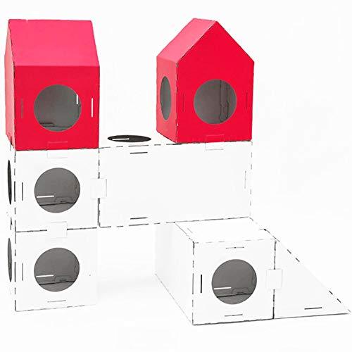 Umora キャットタワー 段ボール猫ハウス ダンボールハウス 猫ボックス 猫おもちゃトンネル 組み合わせが自由 スタイルC