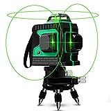 Nivel láser, Careslong 12 tiras con líneas autonivelantes 3 * 360 líneas cruzadas horizontales y verticales Línea de rayo láser verde IP54 nivelación impermeable y alineación menos de 5nw