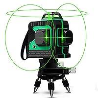 Nivel láser, Careslong 12 tiras con líneas autonivelantes 3 * 360 líneas cruzadas horizontales y verticales Línea de rayo láser verde IP54 nivelación impermeable y alineación menos de 5nw (12 lineas)