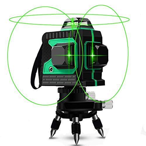Livella Laser Autolivellante 25M, Careslong 3x360° Linea Laser Verde a Croce, Modalità Impulso Livelli laser Linee, Orizzontale e Verticale Autolivellante 3D 12 Linee, IP54 Impermeabile Con 2 Batterie