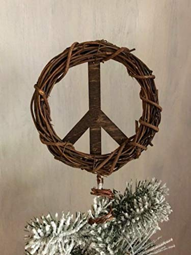 Peace Sign Christmas Tree Topper, Brown or White