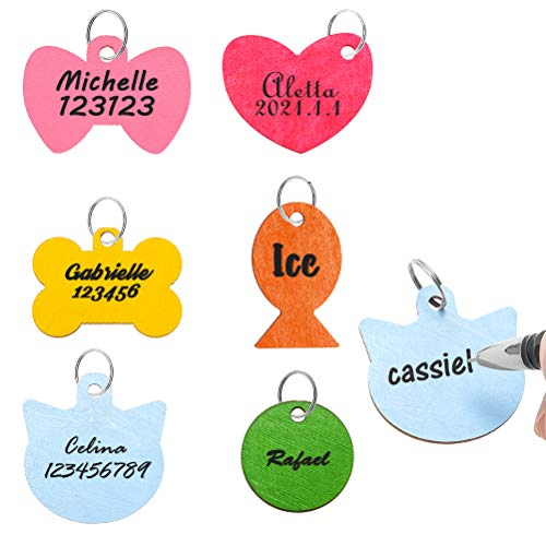 SCENEREAL Pet ID Tag for Dogs - Personalized 6 Pack Wooden Handwriting Name Tags for Cats and Dogs, 6 Colors Pet Collar Accessories