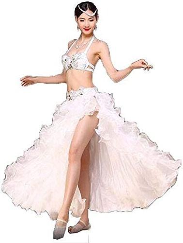 Huaishu Costume de Danse du Ventre des Femmes Adulte Big Swing Jupe Costume Danseur Professionnel Jupe Longue,blanc,L