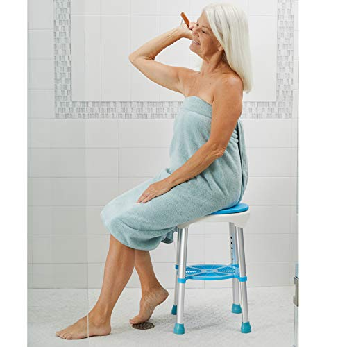 Carex Easy Swivel Shower Stool - Adjustable Rotating Bath Seat and Shower Chair for Elderly with Storage Tray