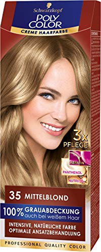 SCHWARZKOPF POLY COLOR Creme Haarfarbe Coloration 35 Mittelblond, 1er Pack (1 x 115 ml)