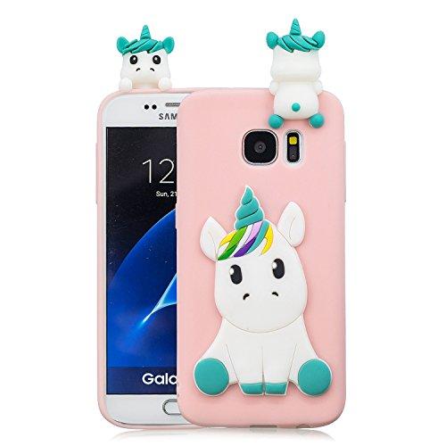 EuCase Funda para Samsung Galaxy S6 Silicona Suave Flexible Carcasa Samsung S6 3D Ultra Delgado Goma TPU Antigolpe Caso Patrón de Animales Cubierta Protección Bumper Case Unicornio Rosa