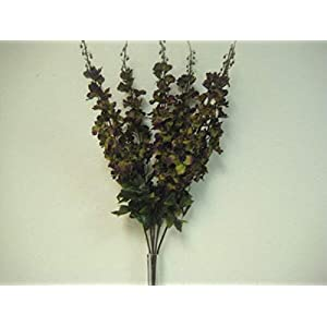 Green Purple Delphinium Artificial Flowers Greens Leaves