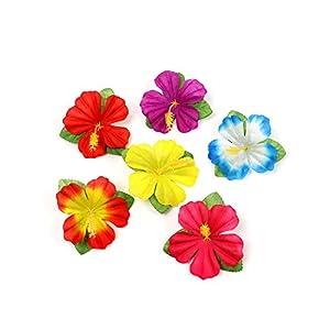 LAVOGUE Mini Artificial Flower Turtle Leaf Artificial Leaf Artificial Flower for Table Board Mat Tropical-Mix hibiscus-1pcs
