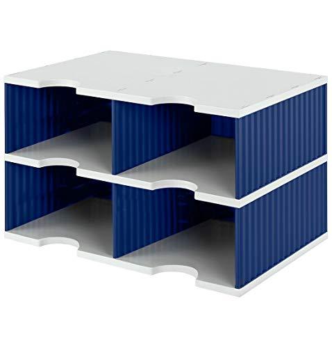 Styro 268022238 - Vaschetta portadocumenti Duo per sistema di archiviazione styrodoc® Jumbo, 4 scomparti, 485 x 331 x 293 mm, grigio/blu